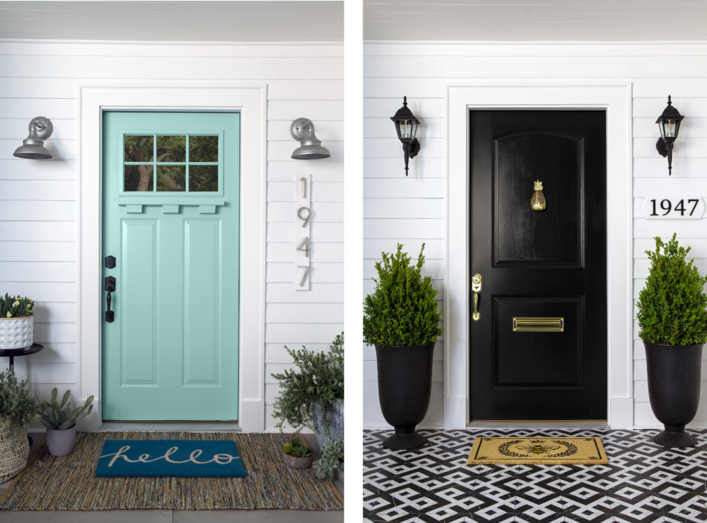 Two images showing a home, one with a blue door, one with a black door.