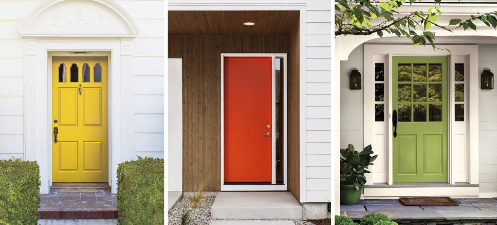 Three different exterior covered entryways showing different colored front doors.