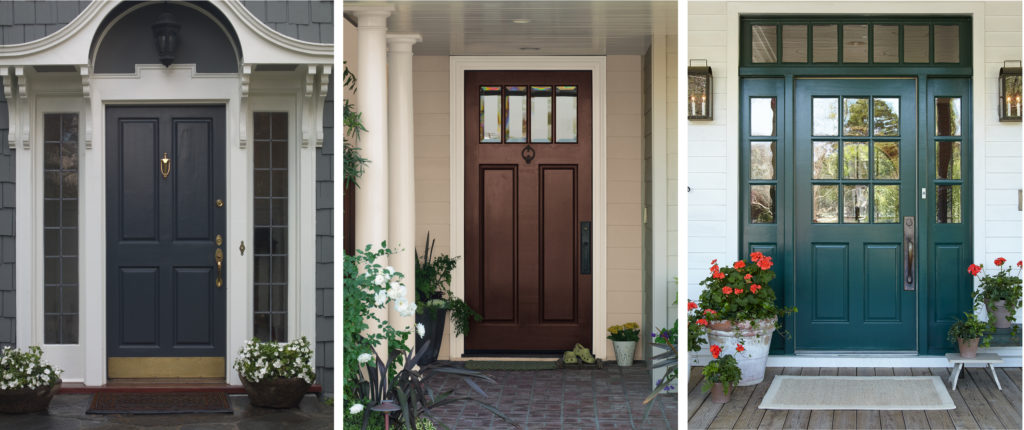 Three different traditional style exterior entryways showing different colored doors.