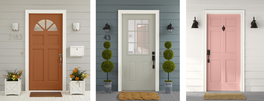 Three front entries sitting side by side featuring an orange, gray and pink painted door.