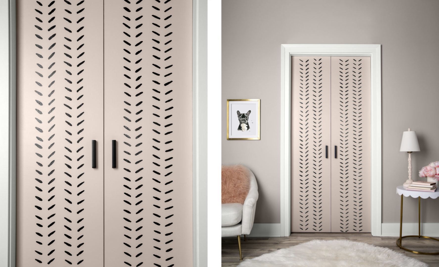 A close-up of a pink door with black short lines placed at a slight angle, in a pattern going vertically up the door.  Next to this is an image of a room showing the doors placed on the closet.