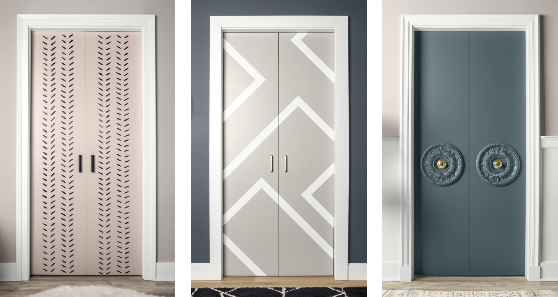 An image showing three doors, side by side, each door has a different designs; dashes, lines, decorative knobs.