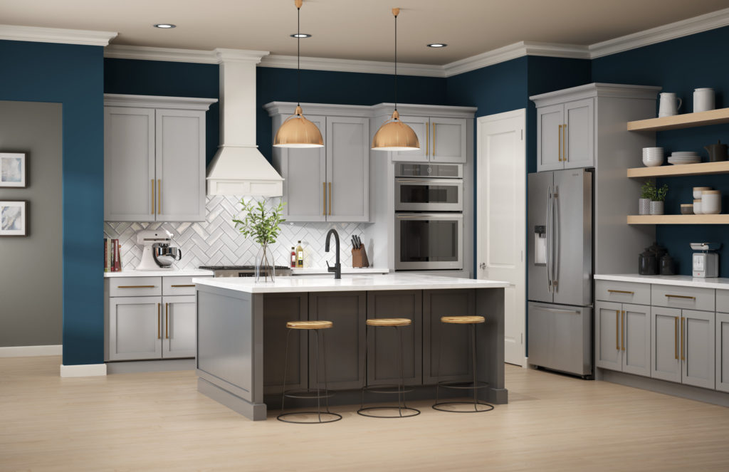 A modern farmhouse style kitchen, the walls are painted in a deep blue color called Nocturne Blue, the cabinets are gray, the kitchen island is a mid-dark gray color with a green undertone called Barnwood Gray.