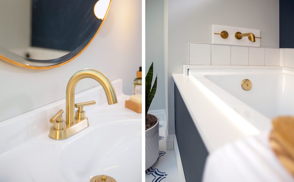 Two side-by-side image showing detailed photos of the new brass hardware on the sink and bathtub.