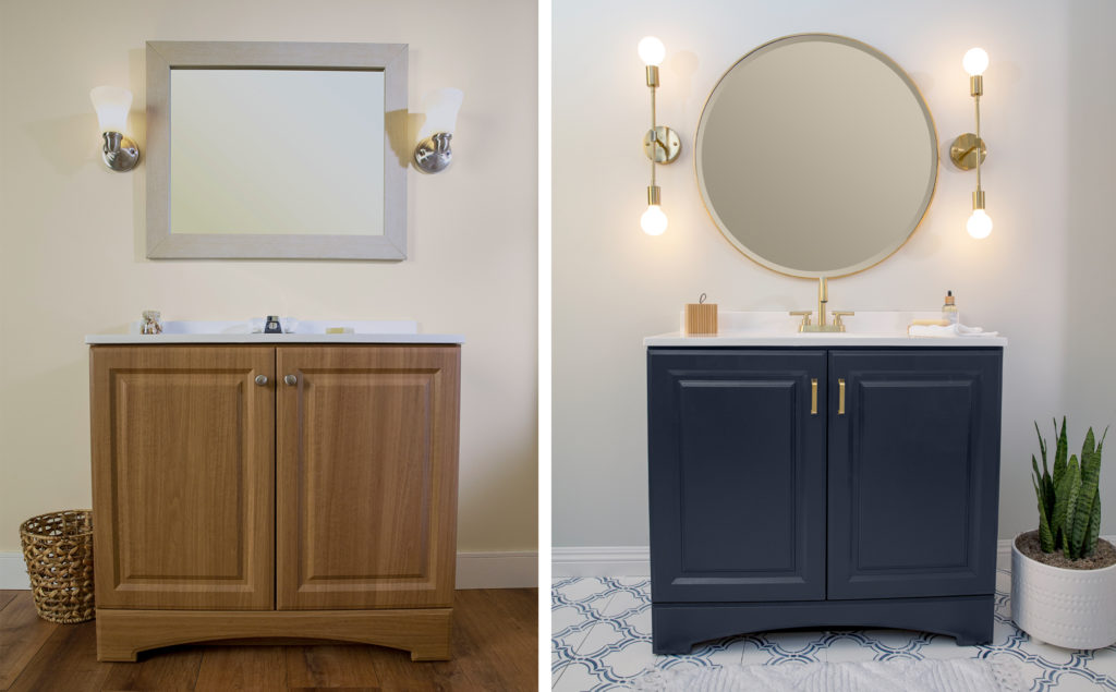 This graphic shows the side-by-side comparison on the the vanity which had been painted with a blue color called Starless Night in a Semi-gloss finish which makes the color standout even more as the light reflects on the paint.   The mirror and hardware was also replace with all brass finish items which elevated the overall look of this vanity area.