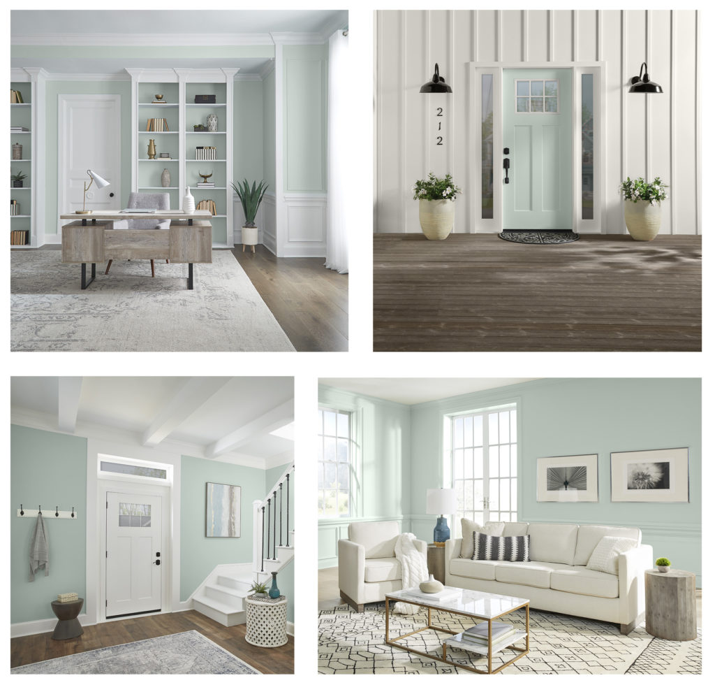 A collage of interior and exterior home images featuring BEHR's color of the year, Breezeway.