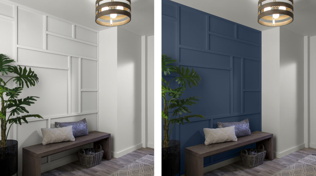 Two of the same room images sitting side by side. The left side shows the room painted all in the same color. The right side shows one wall in a bold blue color, the rest in white.
