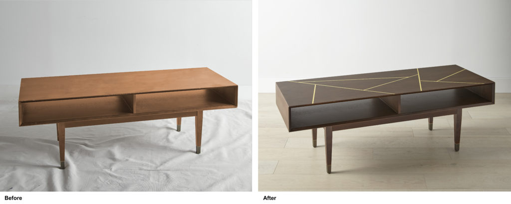 Two coffee tables sitting side by side. The first one looks old. The second one has been stained a brown color with yellow painted geometric lines on the top.