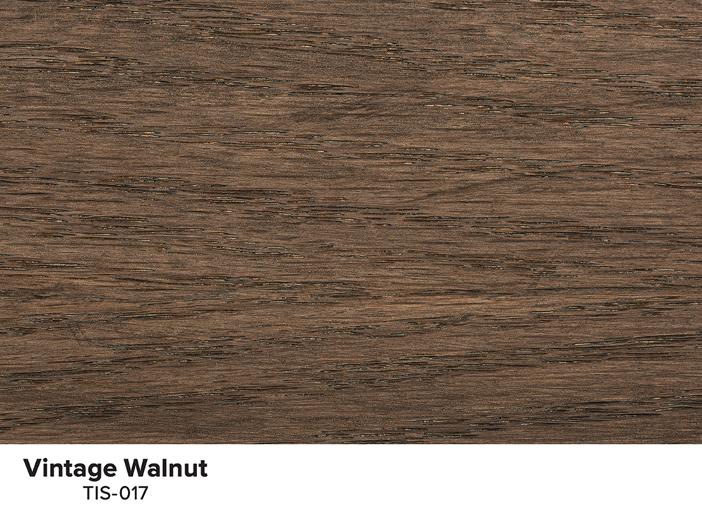 A piece of wood showing the stained color Vintage Walnut.