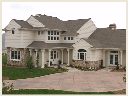 Tan Or Beige Homes: Brown Or Medium Gray Shingles.